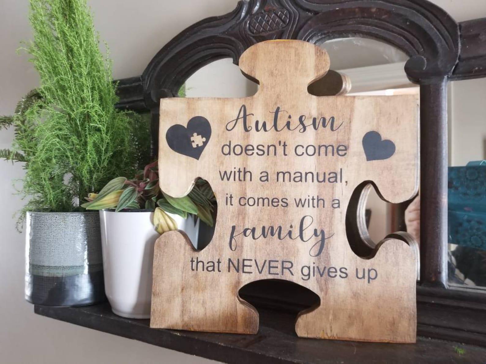 Autism Puzzle Piece Wood Decor