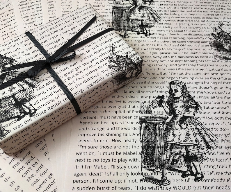LITERATURE CRAFT WRAP 6 x SHEETS OF ALICE IN WONDERLAND PAPER IN CREAM A3 SIZE