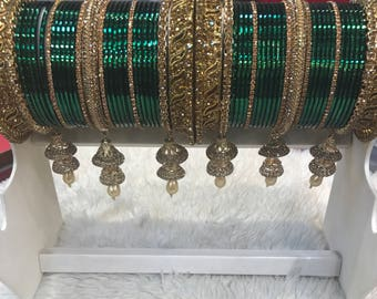 Bangles, gold bangles, green bridal bangles, indian bangles, pakistani bangles, indian jewelry, pakistani jewelry, indian wedding jewelry