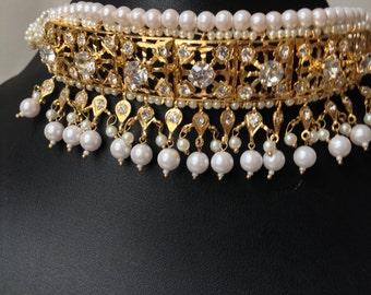 Hyderabadi Indian choker set | Wedding Jewelry | Indian Necklace | Faux Pearl | Indian Jewelry | Indian Earring | Indian statement Necklace