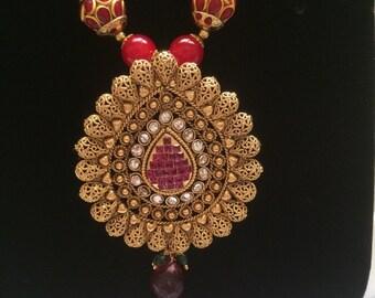 Ruby Kundan Necklace, Indian Wedding Jewelry, Statement Jewelry, Statement Necklace,Hyderabadi Jewelry, Kundan Necklace, Bollywood