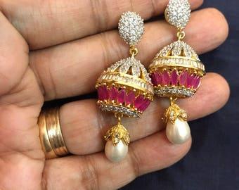Ruby Indian Jewelry | Hyderabadi Wedding Jewelry| Statement Jewelry | Bridal Jewelry | Kundan Earrings | Indian Earrings | Indian Jewelry |