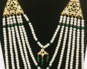 Green Saath Lada | Hyderabadi indian necklace set | Wedding Jewelry | Green Indian Jewelry |Earring | Desi Jewelry | Indian Bridal Jewelry