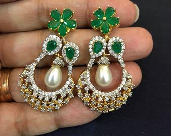 Emerald Earrings| Hyderabadi Indian Wedding Jewelry| Statement Jewelry| Gold Bridal Jewelry| Kundan Indian Earrings | Indian Jewelry | CZ