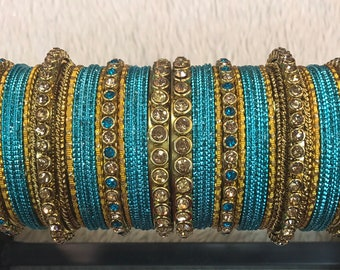 Bangles, gold bangles, blue bridal bangles, indian bangles, pakistani bangles, indian jewelry, pakistani jewelry, indian wedding jewelry