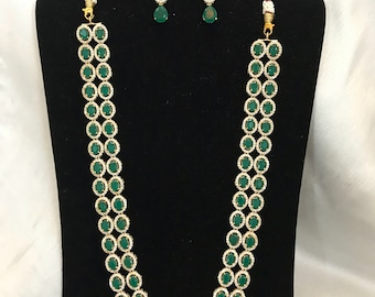 Green Hijab Necklace, Long Green Necklace, Nizam Gulubandh Necklace,Indian Wedding Jewelry,Statement Necklace, Emerald Necklace