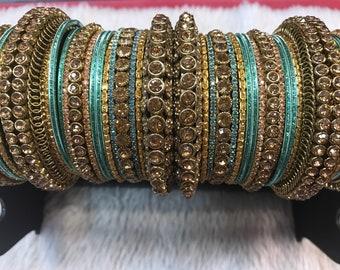 Blue Bangles, gold bangles, bridal bangles, indian bangles, pakistani bangles, indian jewelry, pakistani jewelry, indian wedding jewelry