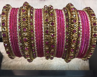 Bangles, gold bangles, pink bridal bangles, indian bangles, pakistani bangles, indian jewelry, pakistani jewelry, indian wedding jewelry