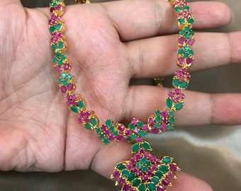 Ruby Necklace,Indian Wedding Jewelry,Statement Jewelry,Statement Necklace, hijabi necklace, Green Necklace