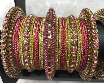 Bridal Bangles, gold bangles, pink bangles, indian bangles, pakistani bangles, indian jewelry, pakistani jewelry, indian wedding jewelry