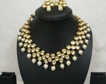 Indian necklace set | Wedding Jewelry | White Indian Jewelry |Earring | Desi Jewelry | Indian Bridal Jewelry | Kundan Jewelry