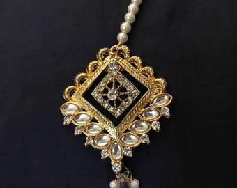 White Mang Tika, Maang Tikka, Matha patti, Indian Wedding Jewelry, Indian Head piece, abaya jewelry, hijab jewelry, Rajasthani Jewe