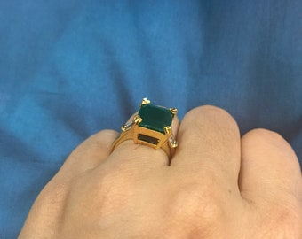 Indian Rings | Indian Faux Emerald Rings | Faux Gold Rings |  Golden Rings | Green Rings | Cz Rings