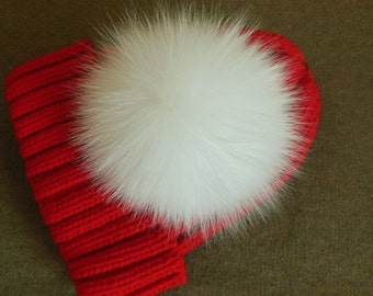 13cm White Real Fox Fur Pom Pom Knit Hat Pompoms Removable