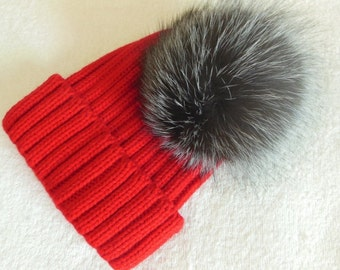 15cm Real Silve Fox Fur Pom Pom Knit Hat Pompoms Removable
