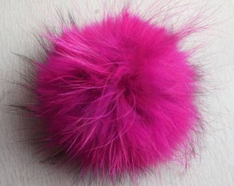 15cm  Real Raccoon Fur Pom Pom Balls Knit Winter Hat Pompoms With Snap Cuttons Removable