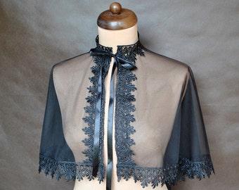 Gothic Victorian Vampire Elegant Burlesque Lolita black LACE CAPE cloak , delicate tulle