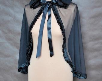 Gothic Victorian Vampire Elegant Burlesque Lolita  black tulle CAPE with big hood, bolero