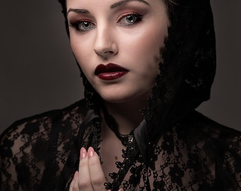 Extra long Gothic Victorian Vampire Elegant Burlesque Lolita black LACE CAPE with big hood, prom, goes to ground