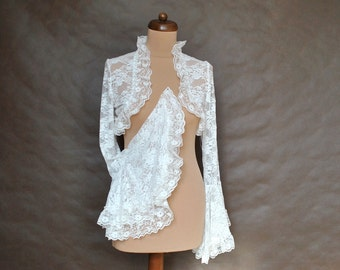 Bridal Victorian Vampire Elegant Burlesque Lolita ivory LACE BOLERO cape, shrug with long big sleeves, festivals, prom, wedding