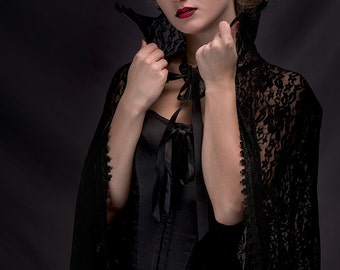 Extra long Gothic Victorian Vampire Elegant Burlesque Lolita black LACE CAPE with high vampire collar, costume, prom, goes to ground, lenght