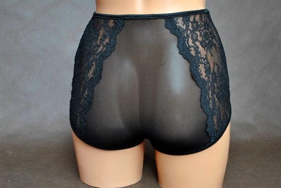 XL romantischer Damen Hipster Slip Schlüpfer Panty geblümt mit Spitze Tüll Gr