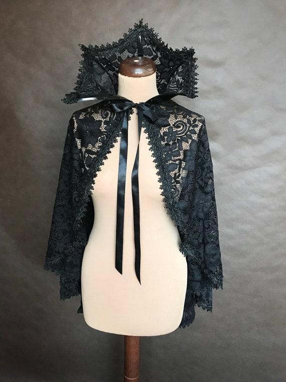 Gotico Elegante pizzo nero e pizzo CAPE con colletto alto, vampiro vittoriano gotico, Halloween