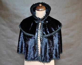 Gothic Victorian Vampire Elegant Burlesque Lolita CAPE black red blue velvet cloak with high collar, New Year's Eve, prom, vampire costume