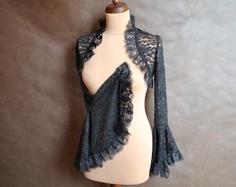 Gothic Victorian Vampire Elegant Burlesque Lolita blackLACE BOLERO cape, shrug with long big sleeves, festivals, prom, halloween