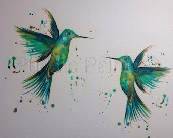 Pair of hummingbirds mixed media painting, hummingbird print, humming bird decor, teal, green, turquoise, birds, exotic birds, Puddle Paints