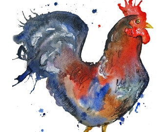 Rooster, chicken, hen watercolour painting PRINT