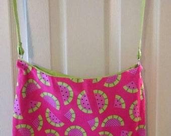 Pink and Green Watermelon Printed Cotton Fabric Hobo Style Tote Bag
