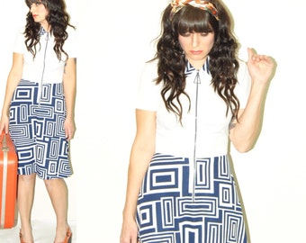 Vintage 60s 70s geometric collard blue and white retro MOD dress