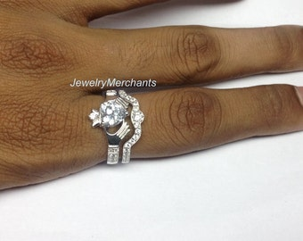 39c2b7413 Engagement Ring with Band Set Irish Claddagh Ring Set 2.65 Ct Heart Solid  925 Sterling Silver 14K White Gold Plated Bridal Wedding Ring Set