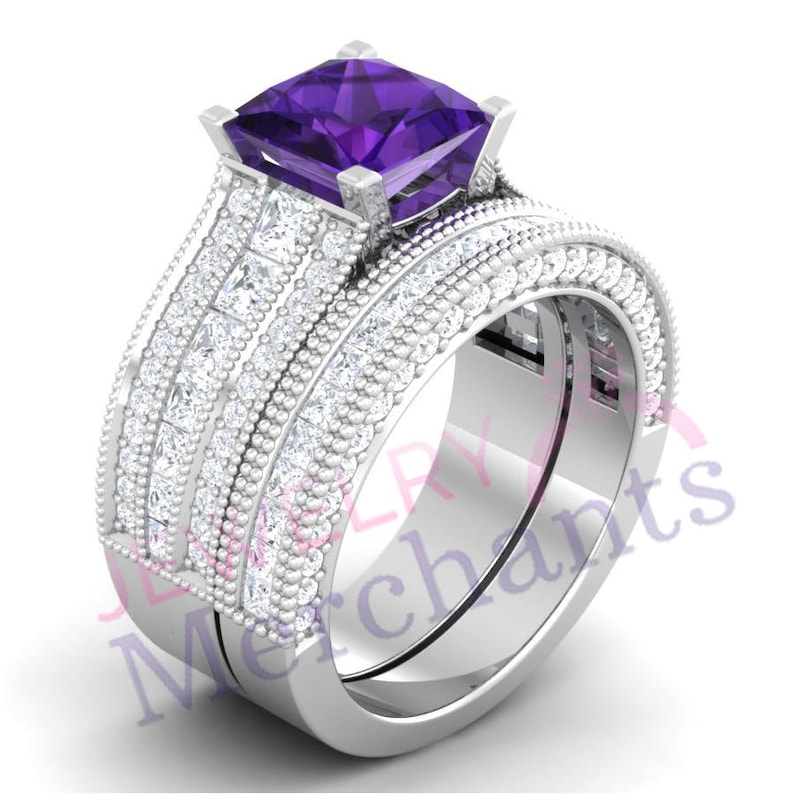 Wedding Ring Set 3.25 Ct Purple Lab Sapphire Princess Cut Engagement Ring Set Solid 925 Sterling Silver 14K White Gold Over Bridal Ring Set
