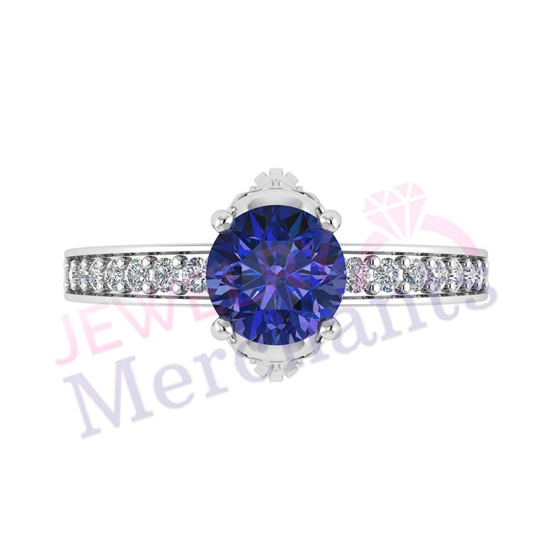 2.55 Ct Round Cut Blue Sapphire Skull Engagement Ring 925 Sterling Silver Gothic Wedding Ring 14K White Gold Plated Halloween Ring for Women
