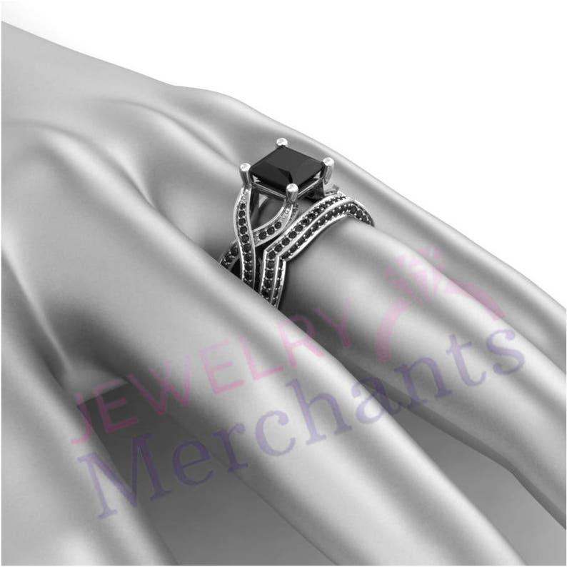 Bridal Ring Set 3.10 Ct Lab Made Black Moissanite Princess Cut Engagement Ring Set 925 Sterling Silver 14K White Gold Over Promise Ring Set