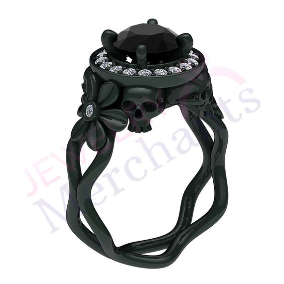 Unique Two Skull Engagement Ring 2.40 Ct Round Black Moissanite Gothic Engagement Ring 925 Sterling Silver Halloween Engagement Skull Ring