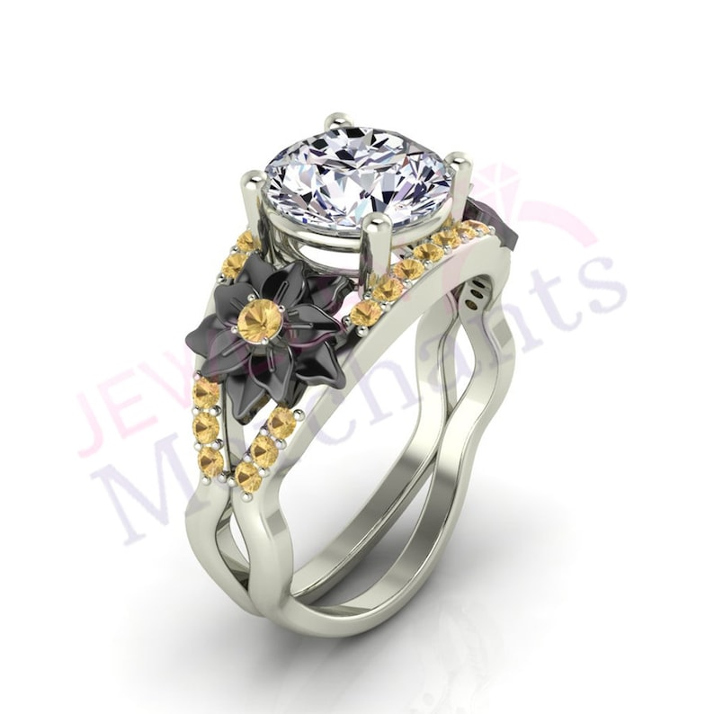 Jewelry & Watches 3.20 Ct Round Cut Blue Moissanite Diamond Engagement Ring Solid 14k White Gold