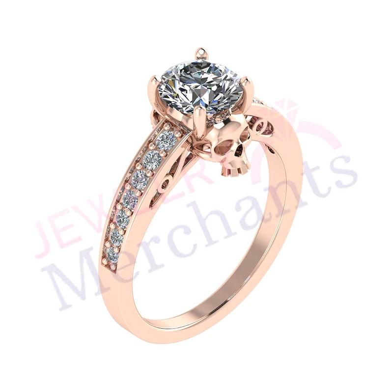 56eb1f4f469ba9 Skull Engagement Ring 2.55 Ct Round White Lab Sapphire Gothic   Etsy