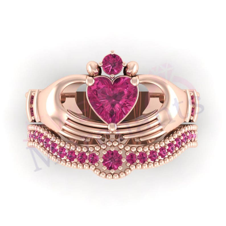 Irish Claddagh Ring Set 3.00 Ct Lab Made Pink Sapphire Heart Shape Engagement Ring Wedding Band Set 925 Sterling Silver 14K Rose Gold Finish