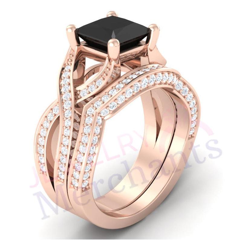 Engagement Ring with Wedding Band Set 3.15 Ct Black Lab Moissanite Princess 925 Sterling Silver 14K Rose Gold Plated Bridal Wedding Ring Set