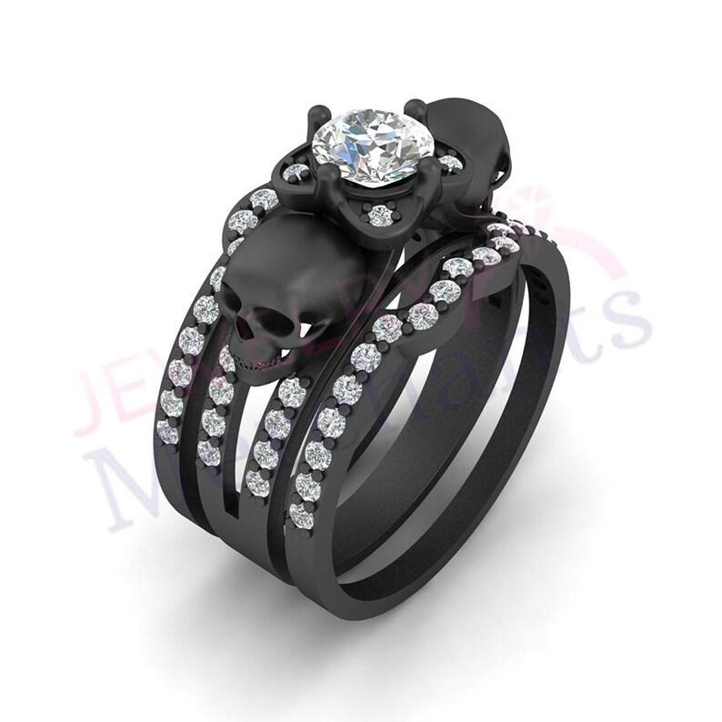 93fef8e86c Gothic Engagement Ring Set 2.50 Ct White Sapphire Round Cut | Etsy