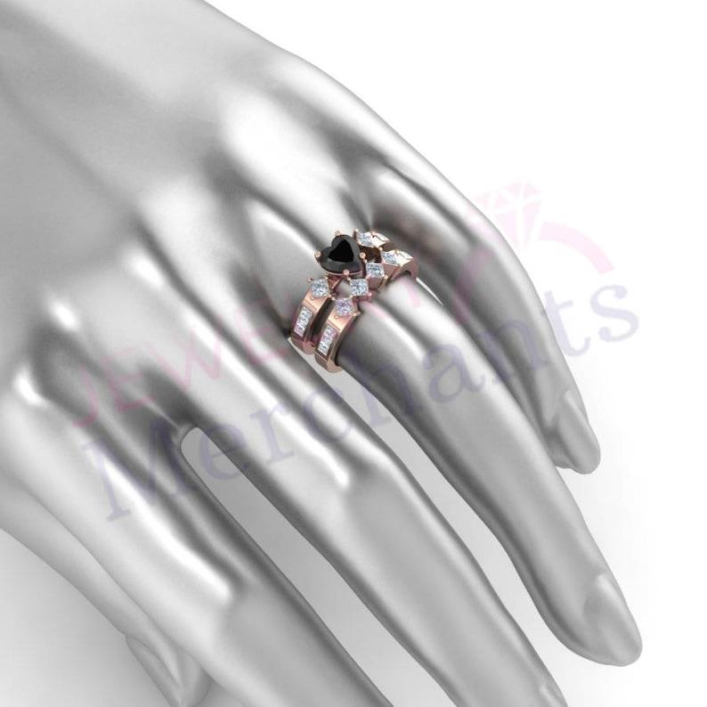 Bridal Ring Set 2.80 Ct Heart Cut Black Lab Moissanite Engagement Ring Set Solid 925 Sterling Silver 14K Rose Gold Plated Wedding Ring Set