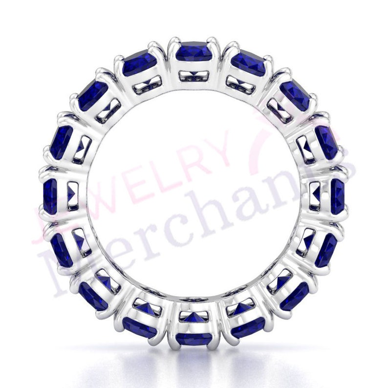Blue Sapphire Anniversary Ring 4.00 Ct Oval Cut Blue Sapphire Eternity Anniversary Ring 925 Sterling Silver Full Eternity Anniversary Band