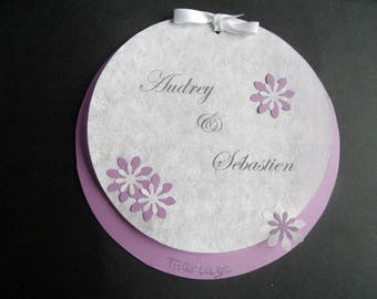 share marriage or birth white purple floral theme