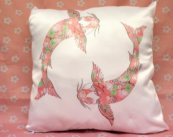 Unique Sublimated Pillow Cover, Pink Floral Pattern Koi Fish in Circular Motion