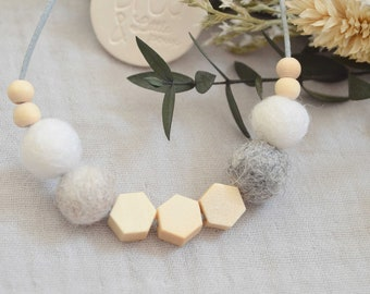 White and gray necklace, wood, wool, mother's day, teacher gift