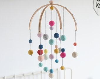 Baby mobile, baby mobile feltballs various colour Montessori felt balls