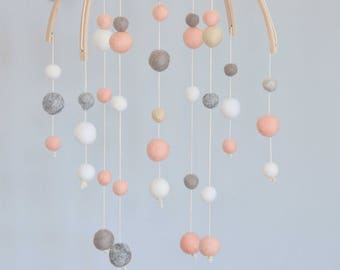 Baby mobile, baby mobile, mobile-pink, pastel, pastel mobile mobile, mobile-grey, grey room